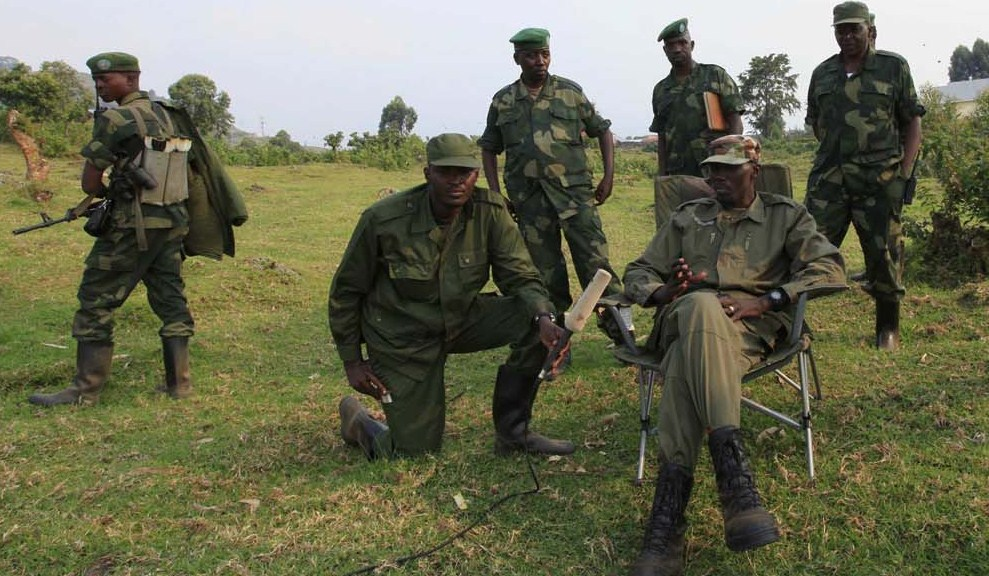 Colonel Makenga, leader of M23 rebel group, speaks during an interview with Reuters in Bunagana