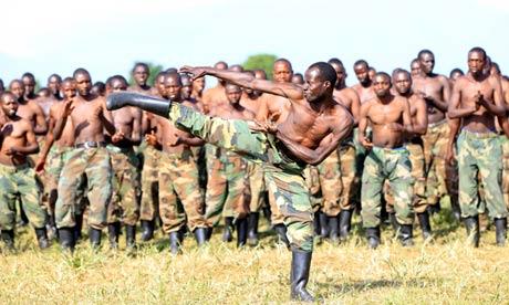 M23 rebels train in the Democratic Republic of the Congo.