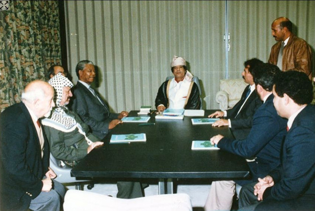 Yasser Arafat, Nelson Mandela, Mouammar Kadhafien