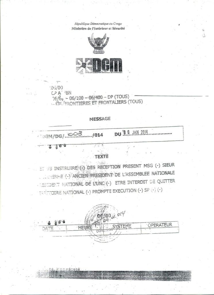 Document de la DGM que s'est procuré l'UNC