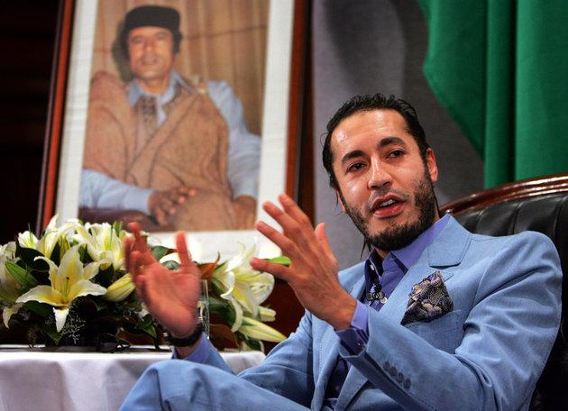 Al Saadi Gaddafi, the third son of Libyan leader Muammar Gaddafi, speaks at a news conference in ...