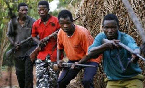 Les Rebels Mai mai avec eur arme de fabrication local