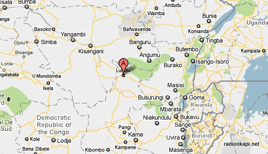 Territoire de Lubutu au Maniema, marqué en rouge,RDCongo.