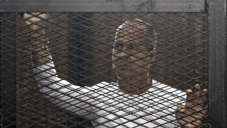 File photo of Al Jazeera journalist Peter Greste of Australia standing in a metal cage during his trial in a court in Cairo