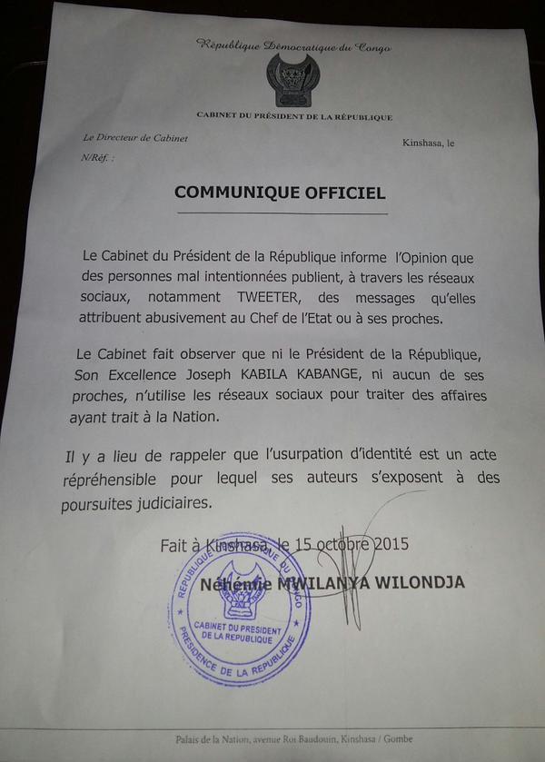 Kabila's letter