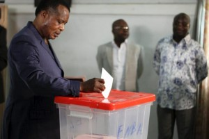 Republic of Congo President Denis Sassou-Nguesso votes at a polling station in Brazzaville