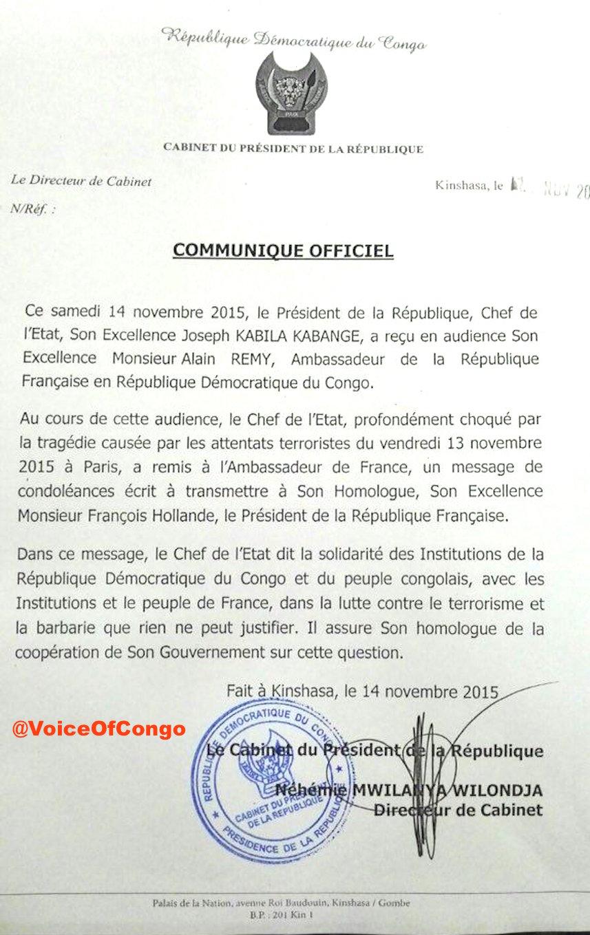 Communiqué présidence RDC