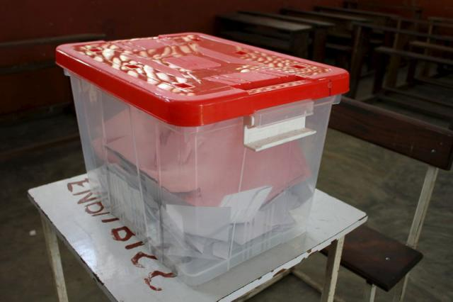 Ballots are seen in a box at a polling station in Brazzaville
