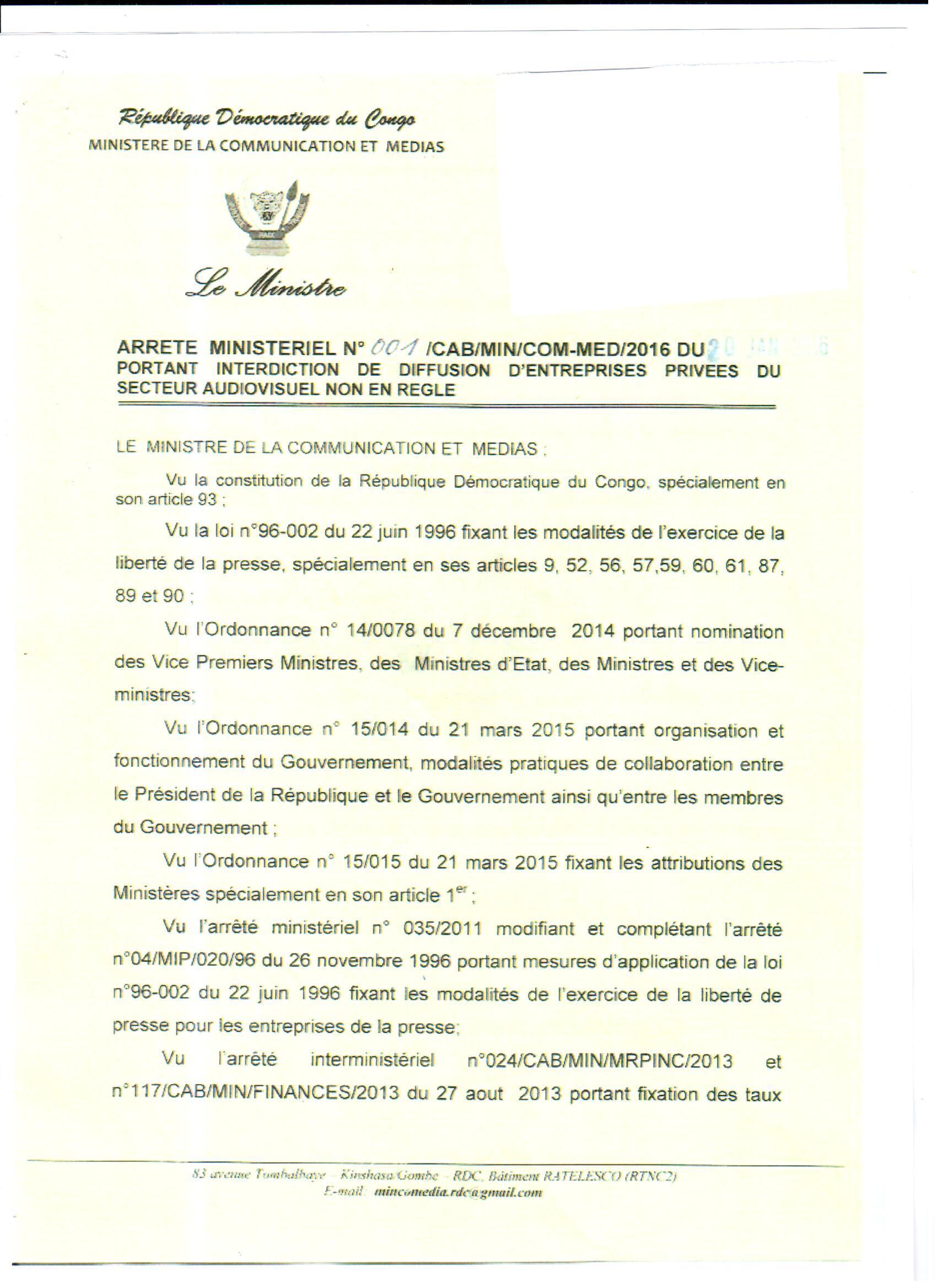 Arrete Ministeriel contre Nyota
