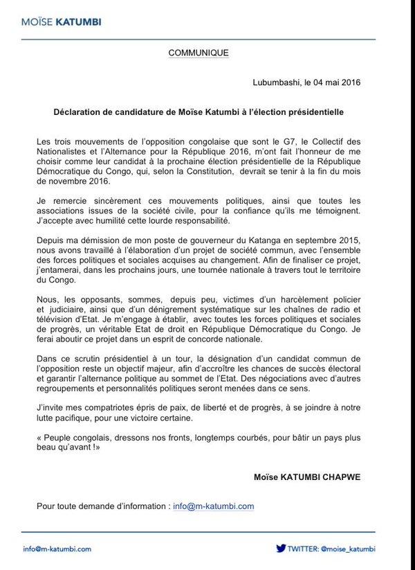 Moise Katumbi déclaration prés