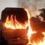 Haut-Katanga : Un bus de la compagnie Efetrans a pris feu hier à Mulugwishi
